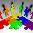 Characters and puzzle - business team — Stock Photo #10396383
