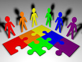 Personaggi e puzzle - team business — Foto Stock
