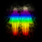 Rainbow silhouette with aura - woman and man — Stock Photo