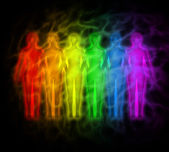 Rainbow - rainbow silhouettes of human aura — Stock Photo