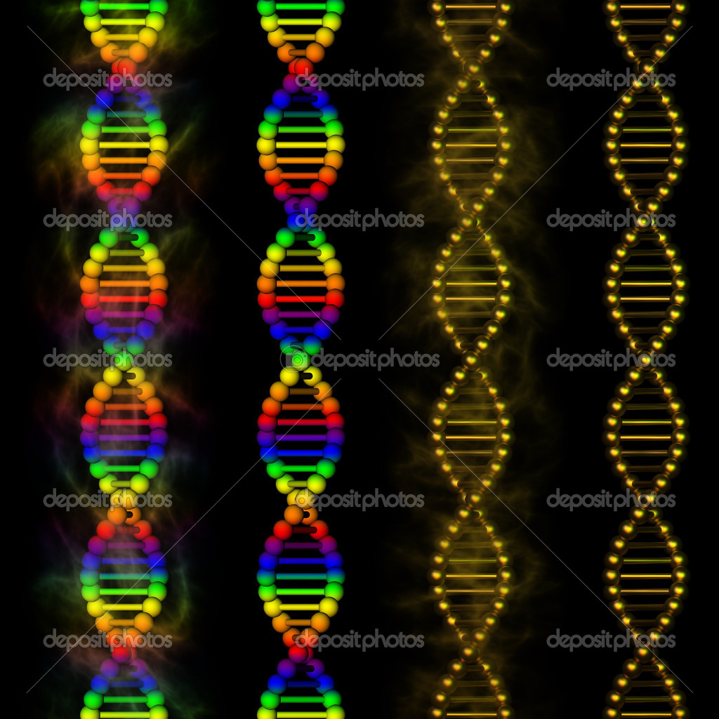 3D illustration of rainbow and golden deoxyribonucleic acid (DNA). Theme of medicine, genetic engineering, genetic modification, biochemistry, biotechnology, biology.  Stock Photo #10396363