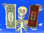 Money laundering - cartoon of skeleton with dollar bills — Stock Photo