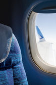 Passenger seat in an airplane close up — Stock Photo