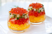 Caviar with vegetable in glasses close up — Stock Photo