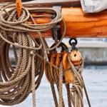 Ropes on tallship mast close-up — Stock Photo #7984082