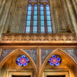 Arched ceiling with stained glass windows close up — Stock Photo #8028878