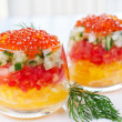 Caviar with salad decorated sprig of dill - Stock Photo