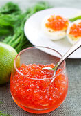 Caviar in glasses on dill and lime background close up — Stock Photo