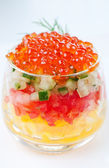 Caviar with vegetable salad — Stockfoto