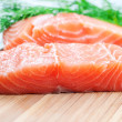 Salmon on board close up - Stock Photo