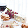Red wine and brie parmesan and blue cheese - Stock Photo