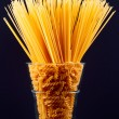 Spaghetti and pasta in vase — Stock Photo