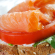 Close up salmon sadwich — Stock Photo