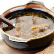 Foto de Stock  : Brown bowl of mushroom soup with spoon