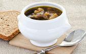 Bowl of tasty mushroom soup — Stock Photo
