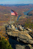American flag on top of Chimney rock — Stock Photo