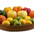 Beautiful tray with colorful fruits and vegetables — Stock Photo