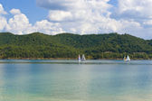 Summer view of a local lake with sailboats in Kentucky, USA — Stock Photo