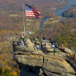 Chimney rock in North Carolina - popular tourist destination in - Stock Photo