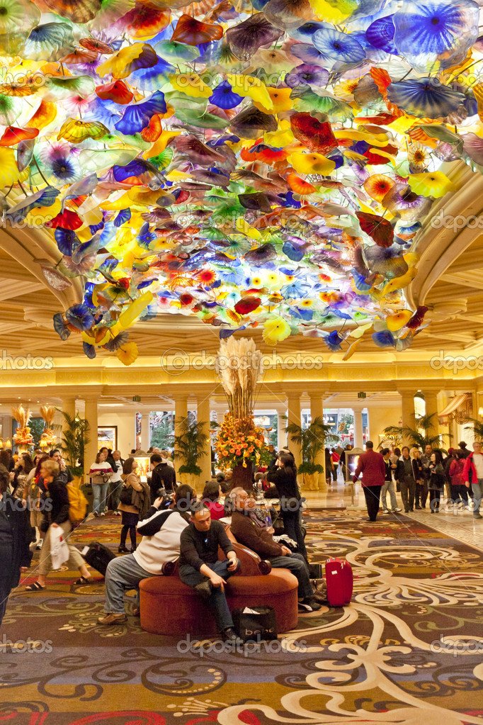 Bellagios lobby with Artwork of Glass Flowers by Dale Chihuly. u2013 Stock Editorial Photo ...