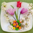 Easter place setting with spring flowers and blossom — Stock Photo #9634168