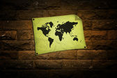World map on wall — Stock Photo