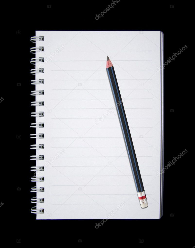 Notebook and Pencil isolated on black background — Stock Photo #10044592