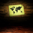 Vintage world map room — Stock Photo