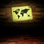 Vintage world map room — Stock Photo