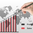 Stockfoto: Hand draws a graph isolated , Business concept