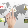 Royalty-Free Stock Photo: Hand touches the flow of images. Symbol of media streams