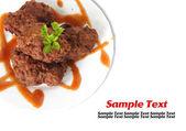 Thai food Pork on a white plate — Stock Photo