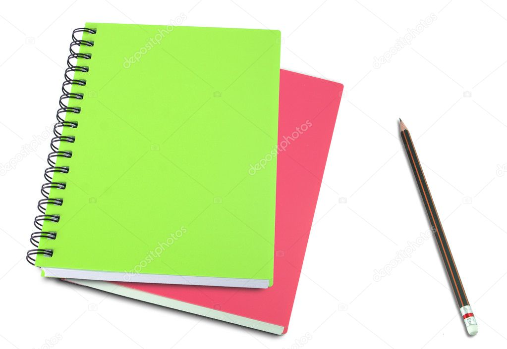 Colored notebook and pencils isolated on white background — Stock Photo #10050751