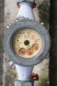 Meter of the water and metal pipes , Format Thailand — Photo