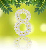 Numbers eight made of tropical flowers frangipani (plumeria) — Stock Photo
