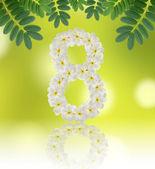 Numbers eight made of tropical flowers frangipani (plumeria) — Zdjęcie stockowe