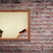 Vintage gold frame with burned on wall background — Stock Photo #10080319