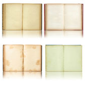 Set of Old book open isolated on reflect floor and white background — Stock Photo