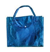 Bolsa azul aislada sobre un blanco con trazado de recorte — Foto de Stock