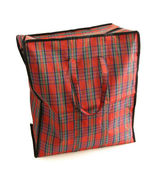 Red tartan bag isolated on white — Stockfoto