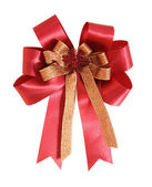 Red gift ribbon and bow on white background with clipping path — Stock Photo