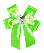 Green ribbon and bow Isolated on white background — Stock Photo