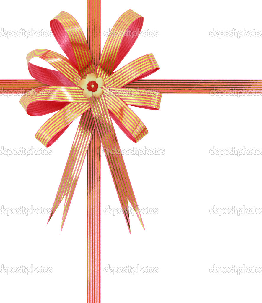 Gift ribbon and bow Isolated on white background — Stock Photo #10329446