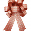 Red gift ribbon and bow Isolated on white background — Stock Photo