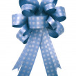 图库照片: Blue gift ribbon and bow Isolated on white background