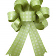 Green gift ribbon and bow Isolated on white background — Stock Photo