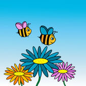 Happy bees cartoon — Stock Photo