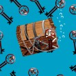 Pirate chest underwater seamless illustration — Stock Photo