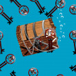 Stock Photo: Pirate chest underwater seamless illustration