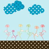Retro flower garden Illustration — Stock Photo